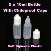 Empty 10ml Plastic Dropper Bottles x 5