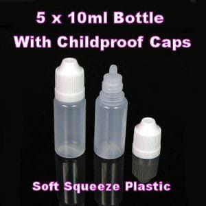 Empty 10ml Plastic Dropper Bottles x 5